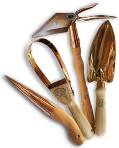Kupferwerkzeuge für den Garten klein